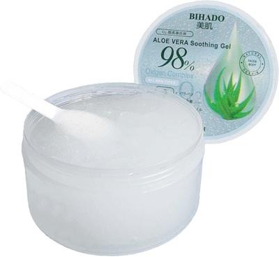 Bihado Aloe Vera Soothing Gel – O2 (Oxygen Complex) : Увлажняющий гель для лица и тела, с экстрактом алоэ (98%) и кислородным комплексом. 300 мл. (фото, вид 1)