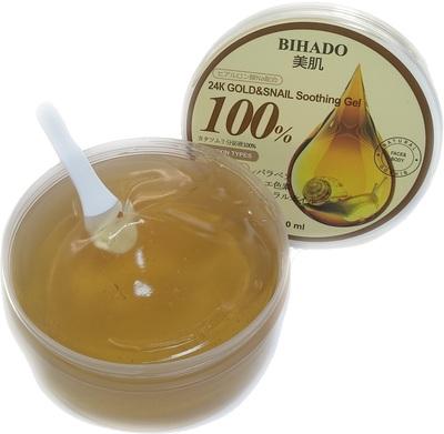Bihado 24K Gold&Snail Soothing Gel : Увлажняющий гель для лица и тела, с золотом (24K) и муцином улитки. 300 мл. (фото, вид 1)
