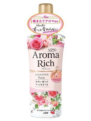 Lion Aroma Rich Diana : Кондиционер для белья c натуральными маслами английской розы, 550 мл.