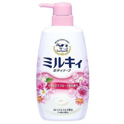 Cow Brand «Milky Body Soap» : Жидкое пенное мыло для тела c керамидами и молочными протеинами, с цветочным ароматом, 550 мл.