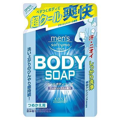 """Kose Cosmeport """"Men's Softymo"""" : Мужской гель для душа с охлаждающим эффектом """"Бодрящая свежесть"""", с цитрусовым ароматом, запасной блок, 400 мл."""