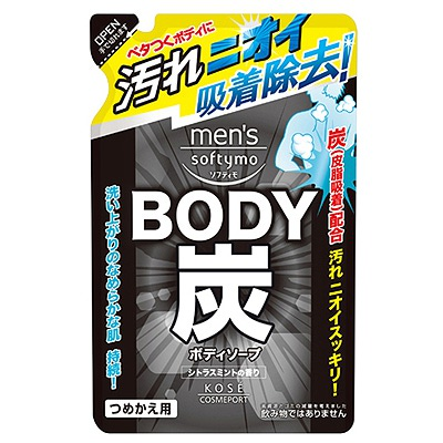 """Kose Cosmeport """"Men's Softymo"""" : Мужской гель для душа c древесным углём """"Глубокое очищение и уход"""", с цитрусово-мятным ароматом, запасной блок, 400 мл."""