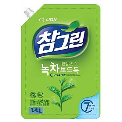 CJ Lion Chamgreen : Средство для мытья посуды, овощей и фруктов. Зеленый чай. 1400 мл.