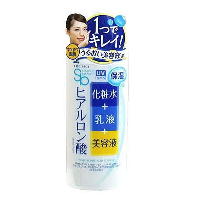 """Utena """"Simple Balance"""" : Лосьон-молочко 3 в 1 с тремя видами гиалуроновой кислоты, с эффектом UV-защиты, SPF 5, 220 мл."""