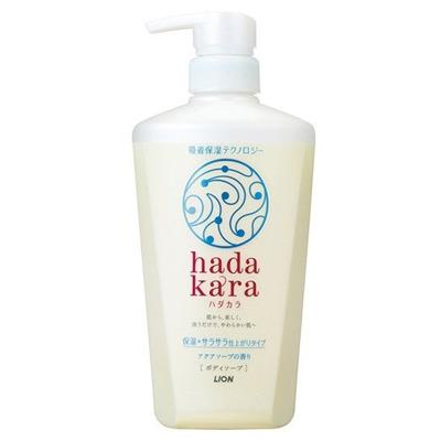 Lion Hadakara : Увлажняющее жидкое мыло для тела с освежающим водным ароматом мыла, 480 мл.