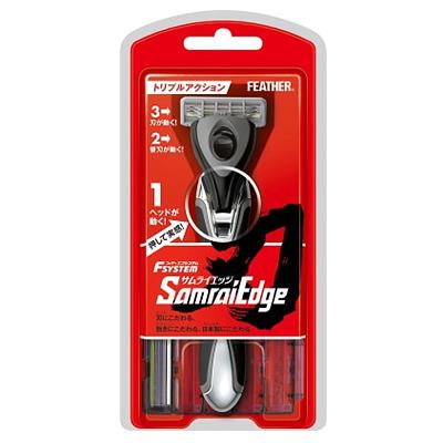Feather «Samurai Edge» : Мужской бритвенный станок с тройным лезвием. (2 кассеты).