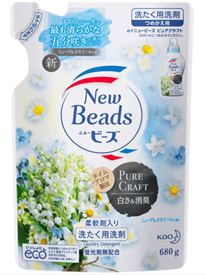 Kao New Beads : Гель для стирки белья с кондиционирующим эффектом с ароматом свежих цветов и трав, 715 мл.