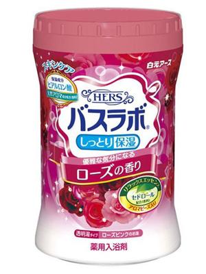 """Hakugen """"Hakugen Earth - Hers Bath Labo"""" : Увлажняющая соль для ванны с восстанавливающим эффектом с гиалуроновой кислотой, с ароматом розы, банка 680 гр."""