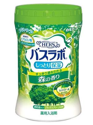 """Hakugen """"Hakugen Earth - Hers Bath Labo"""" : Увлажняющая соль для ванны с восстанавливающим эффектом с гиалуроновой кислотой, с ароматом леса, банка 680 гр."""