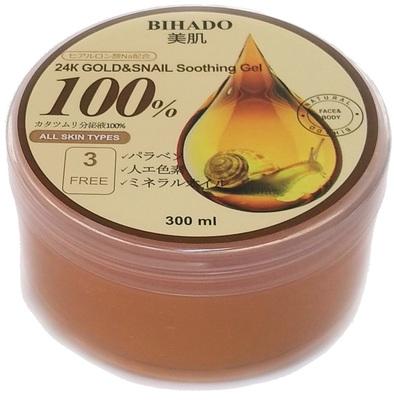 Bihado 24K Gold&Snail Soothing Gel : Увлажняющий гель для лица и тела, с золотом (24K) и муцином улитки. 300 мл. (фото)