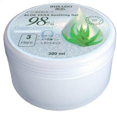 Bihado Aloe Vera Soothing Gel – O2 (Oxygen Complex) : Увлажняющий гель для лица и тела, с экстрактом алоэ (98%) и кислородным комплексом. 300 мл. (фото)