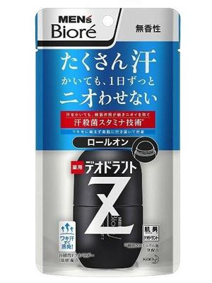 """Kao """"Men's Biore"""" Deodorant Z"""" : Дезодорант-антиперспирант с антибактериальным эффектом, без аромата, ролик 55 мл."""
