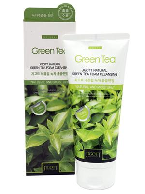 Jigott Natural : Очищающая пенка с экстрактом зеленого чая. 180 мл.