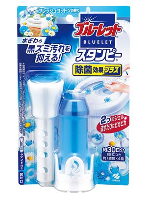 Kobayashi Bluelet Stampy : Очищающий и дезодорирующий гель для унитаза, с ароматом свежего хлопка, 28 гр.