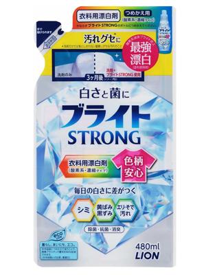 """Lion """"Bright Strong - Супер Яркость"""" : Гель-отеливатель кислородный для стойких загрязнений, с антибактериальным эффектом, 480 мл."""