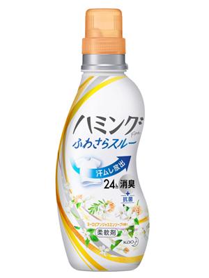 """Kao """"Hamming Fine"""" : Кондиционер для белья с антибактериальным и дезодорирующим эффектом, с ароматом жасмина, 570 мл."""