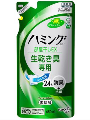 """Kao """"Hamming Fine EX"""" : Концентрированный кондиционер-смягчитель для белья с антибактериальным и дезодорирующим эффектом и ароматом лайма, 450 мл."""