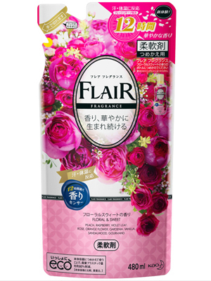 """Kao """"Flaire Floral & Sweet"""" : Кондиционер-смягчитель для белья со свежим цветочным ароматом, 480 мл."""
