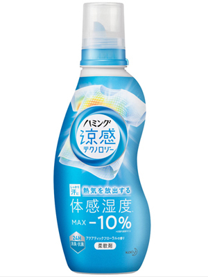 Kao Humming Cool Technology Aqua Floral : Кондиционер-смягчитель для белья с эффектом охлаждения одежды, с ароматом цветов и акватики, 530мл.