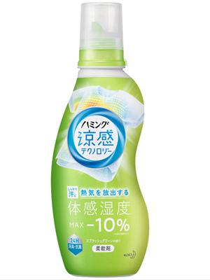 """Kao """"Humming Cool Technology Splash Green"""" : Кондиционер-смягчитель для белья с эффектом охлаждения одежды, с ароматом трав и лимона, 530мл."""