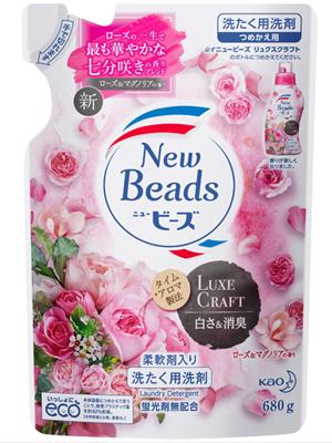 """Kao New Beads Luxe Craft : Мягкий гель для стирки белья """"Цветочный люкс"""", с ароматом розы и магнолии, сменная упаковка, 680 г."""