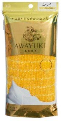 """O:he Awayuki : Массажная мочалка """"Увлажняющая пена"""" средней жесткости, жёлтая, 28x100 см."""