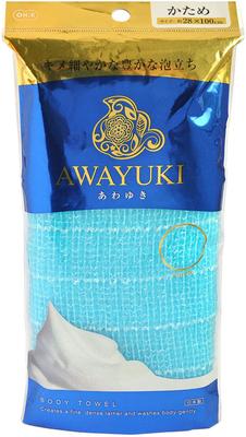 "O:he Awayuki : Массажная мочалка ""Увлажняющая пена"" жесткая, объемная, голубая, 28х100 см."