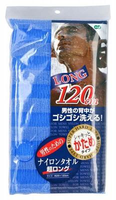 O:he Nylon Towel Super Long : Мочалка для тела сверхжесткая, синяя, размер 28х120 см.