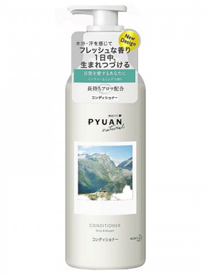 """Kao Merit Pyuan """"Natural"""" : Кондиционер для волос с ароматом мяты и ландыша, 425мл."""
