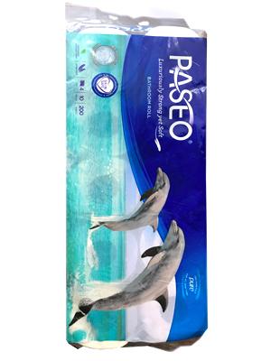 Paseo Elegant : Туалетная бумага 4-х слойная с рисунком Дельфина. 200 листов. 10 рулонов.