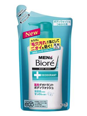 """Kao """"Men's Biore"""" : Пенящееся мужское жидкое мыло для тела с противовоспалительным и дезодорирующим эффектом, с ароматом свежести, запасной блок 380 мл."""
