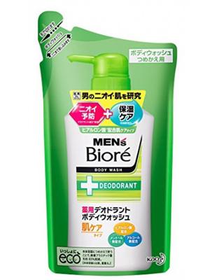"""Kao """"Men's Biore"""" : Мужское пенящееся мыло для тела с противовоспалительным и дезодорирующим эффектом, с цветочным ароматом, мягкая упаковка 380 мл."""