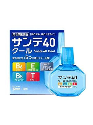 Santen 40 Cool Возрастные капли с витамином E, B6 и таурином и ментолом, 12 мл.