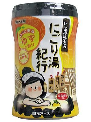 """Hakugen """"Hakugen Earth - Банное путешествие"""" : Увлажняющая соль для ванны с восстанавливающим эффектом (с ароматом юдзу), банка 600 гр."""