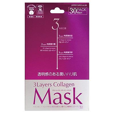 Japan Gals 3 Layers Collagen Mask : Маска для лица ежедневная с трехслойным коллагеном. Комплект. 30 штук.
