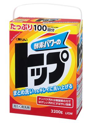 """Lion TOP : """"Сила ферментов"""" Универсальный концентрированный стиральный порошок - 102 стирки - новая сила ферментов, для хлопчатобумажных, льняных и синтетических тканей на 100 стирок. , 3,2 кг."""