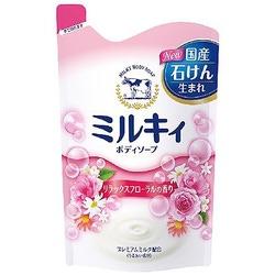 Cow Brand «Milky Body Soap» : Жидкое пенное мыло для тела c керамидами и молочными протеинами, с цветочным ароматом, 400 мл.