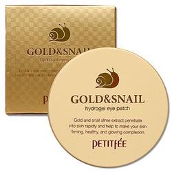Petitfee Gold & Snail : Маска для кожи вокруг глаз гидрогелевая, с золотом и экстрактом слизи улитки, 60 шт.