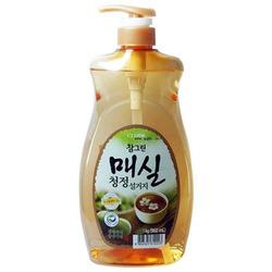 """CJ Lion """"Chamgreen"""" : """"Японский абрикос"""" Средство для мытья посуды, фруктов, овощей, с экстрактом японского абрикоса, 960 мл, с дозатором."""