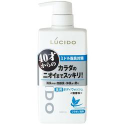 Mandom Lucido Deodorant Body Wash : Мужское жидкое мыло для нейтрализации неприятного запаха с антибактериальным эффектом и флавоноидами (для мужчин 40+), 450 мл.