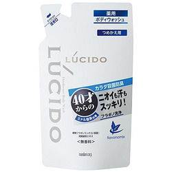 Mandom Lucido Deodorant Body Wash : Мужское жидкое мыло для нейтрализации неприятного запаха с антибактериальным эффектом и флавоноидами (для мужчин 40+), 380 мл.