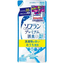 Lion Soflan Premium Deodorizer Zero-0 : Кондиционер для белья (защищающий от неприятного запаха до самого вечера) - аромат жасмина и акватики, 430 мл.