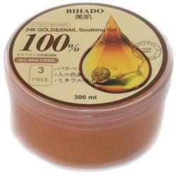 Bihado 24K Gold&Snail Soothing Gel : Увлажняющий гель для лица и тела, с золотом (24K) и муцином улитки. 300 мл.
