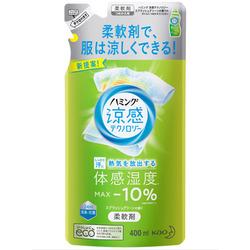 """Kao """"Humming Cool Technology Splash Green"""" : Кондиционер-смягчитель для белья с эффектом охлаждения одежды, с ароматом трав и лимона, 400 мл."""