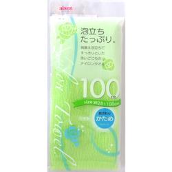 Aisen Awatatsu : Массажная мочалка средней жесткости, удлиненная, салатовая, 28х110 см.