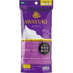 "O:he Awayuki : Массажная мочалка ""Увлажняющая пена"", жесткая, фиолетовая, 28х100 см."