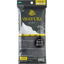 "O:he Awayuki : Массажная мочалка ""Увлажняющая пена"", жесткая, серая, 28х100 см."
