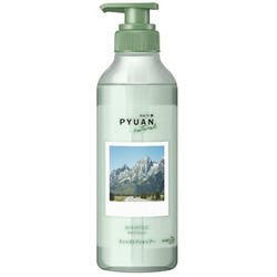 """Kao Merit Pyuan """"Natural"""" : Шампунь для волос с ароматом мяты и ландыша, 425мл."""
