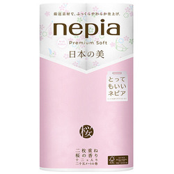Nepia Premium Soft : Туалетная бумага двухслойная с рисунком, с ароматом сакуры, 25м. (12 рулонов).