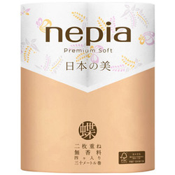 """Nepia Premium Soft : Туалетная бумага двухслойная с рисунком """"Бабочки и цветки глицинии"""", без аромата, 30м. (4 рулона)."""